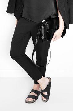 Outfit: black suit   birkenstock