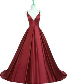 Elegant Dark Red Spaghetti Straps Criss Cross Long Prom Dresses Evening Gowns