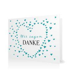 Dankeskarte Es regnet Herzen in Aqua - Klappkarte flach #Hochzeit #Hochzeitskarten #Danksagung #Foto #kreativ https://www.goldbek.de/hochzeit/hochzeitskarten/danksagung/dankeskarte-es-regnet-herzen?color=aqua&design=61e62&utm_campaign=autoproducts