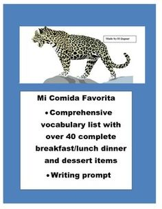 This interactive worksheet can be used to teach students in depth vocabulary for breakfast, lunch, dinner, desserts and beverages. Students should be able to populate the breakfast, lunch, dinner  and dessert page.  Develop great writing skills in your students and encourage hem to share in full Spanish their paragraphs.
