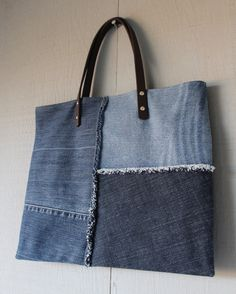 Patch Frayed Denim Tote with Leather Straps, Two Interior Pockets and Lined with a Zig-Zag Patterned Cotton Fabric by AllintheJeans on Etsy