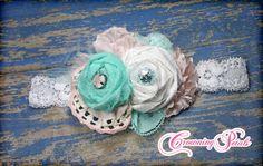Aqua Mint White Baby Pink Headband Baby Hair Bow by CrowningPetals, $17.75