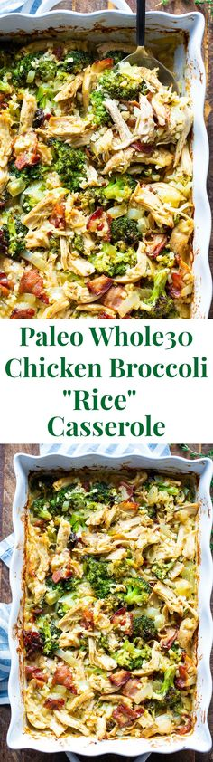 This creamy paleo chicken broccoli and rice casserole is packed with flavor and filling in the best way! Its compliant keto dairy free and perfect to make ahead of time for easy lunches and dinners. This creamy paleo ch Paleo Recipes, Real Food Recipes, Chicken Recipes, Lasagna Recipes, Lentil Recipes, Paleo Meals, Spinach Recipes, Rib Recipes, Roast Recipes