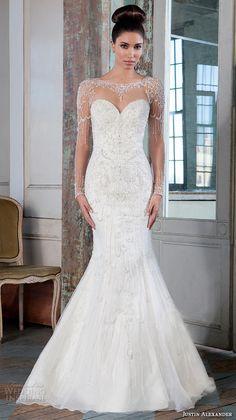 JUSTIN ALEXANDER SIGNATURE #Bridal spring 2016 beautiful mermaid #wedding dress fit flare trumpet jeweled illusion bateau neckline long sleeves gown 9817