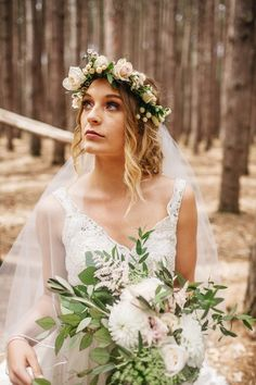 Flower crowns are the perfect way to add some spring flair to your bridal look| photo by Eastlyn Bright