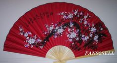 "New Oriental Asian Japanese Large 60"" Wall Fan Painted Red Bonsai Cherry Blossom 