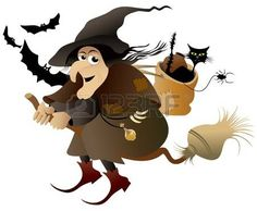 halloween brujas: Vuelo de brujas de Halloween Vectores