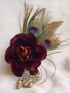 Tribal Fusion Hair Flower Burgundy Ranunculus by siphonophoria, $23.00