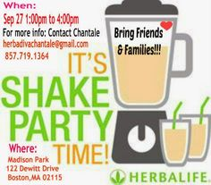 Come join us for our ongoing community appreciation Potluck/Shake Party. Bring your friends & family, everyone is welcome to hear about HERBALIFE products and sample the delicious shakes that we love & have helped me lose weight and be energized! Herbalife has something for EVERYONE. Whether you would like to learn about the best nutrition out there, LOSE, GAIN or MAINTAIN weight, BUILD MUSCLE with our sports line and much more! FREE event what do you have to lose?
