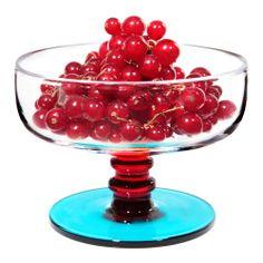 "Fresh fruit for dessert, anyone? Marimekko ""Socks Rolled Down"" Clear / Red / Turquoise Dessert Bowl - Was: $49 Now: $36.75"