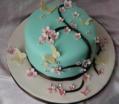 Ideas cake birthday mother fondant for 2019 Cakes To Make, Fancy Cakes, Gorgeous Cakes, Pretty Cakes, Fondant Cakes, Cupcake Cakes, Cherry Blossom Cake, Cherry Blossoms, Birthday Cake For Mom