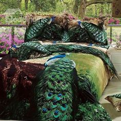 New Arrival Beautiful Green Peacock Print 4 Piece Bedding Sets