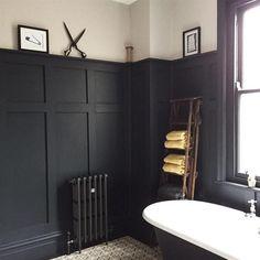 Bath room blue wood farrow ball ideas for 2019 Wood Panel Bathroom, Bathroom Paneling, White Bathroom, Master Bathroom, Bad Inspiration, Bathroom Inspiration, Victorian Bathroom, Black Kitchens, Kitchen Black