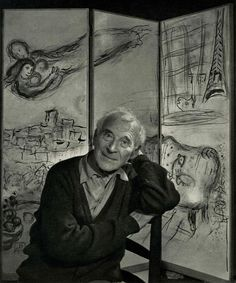"""Yousuf Karsh (Lebanese/Canadian, 1908-2002). """"Marc Chagall"""". Original vintage photogravure. c1962. Printed 1967. Very good condition. Image size: 11 1/4 x 9 1/2 in. (286 x 241 mm)."""