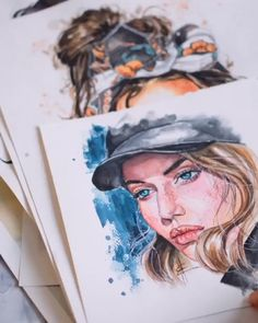 Watercolor Painting Ideas for Beginners Watercolor Portrait Tutorial, Watercolor Portrait Painting, Watercolor Art Face, Watercolor Painting Techniques, Sketch Painting, Watercolor Illustration, Watercolor Trees, Watercolor Landscape, Abstract Paintings