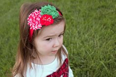 Candy Cane Shabby Chic Flower Headband in red, green and white/ frayed rosette headband/ satin and mesh/ felt and sequin.