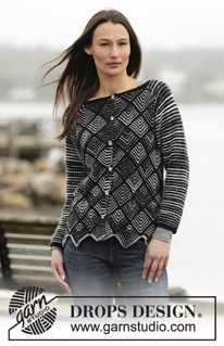 """Knitted DROPS jacket with domino squares and raglan in """"Fabel"""" and """"Alpaca"""". Size: S - XXXL. ~ DROPS Design"""