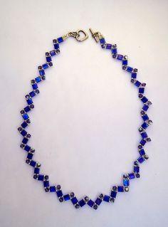 Tila bead necklacechoker style necklacezig zag pattern