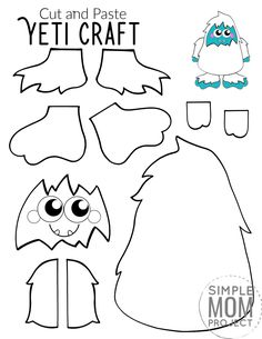 Here's a super fun cut and paste craft which is ideal for practising those scissor skills! Our free printable cut and paste Yeti craft is an ideal craft activity for the cold winter days. Whether it's for your toddlers, preschoolers, kindergartners or big kids, this simple cut and paste Yeti craft has always been a super popular paper craft in our home. So get ready for the cool months ahead with this free printable cut and paste Yeti craft template today! #cutandpastecrafts #Yeticrafts Winter Crafts For Kids, Winter Kids, Puffy Paint Crafts, Printable Crafts, Free Printable, Wolf Craft, Snowman Coloring Pages, Preschool Crafts, Kid Crafts
