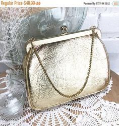50% OFF SALE JR Usa Gold Evening Bag. Old Vintage Gold Handbag Purse. Golden Vinyl leather handbag. Gold evening bag. Signed designer gold p by TheOldJunkTrunk