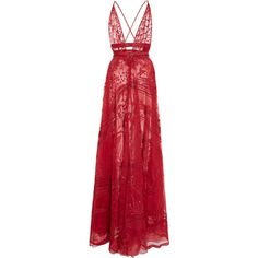 Fresque Embellished Silk-Organza Gown | Moda Operandi (€8.965) ❤ liked on Polyvore featuring dresses, gowns, sheer mini dress, sheer-panel dress, short red dress, red dresses and transparent dress