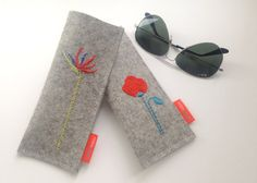 Sunglass case, eyeglass case, hand embroidered bird of paradise or poppy, pure…