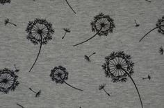 hellgrauer Sommer Sweat mit Pusteblumen 50 x 150 cm French Terry - Stofferia