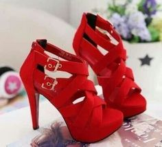 something like this (bright red heels, maybe with some ...