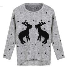 2016 Spring New Fashion Women Sweater Christmas Red Deer Snowflake Printed Long Sleeve Casual Crochet Pullover Wholesale 58(China (Mainland))