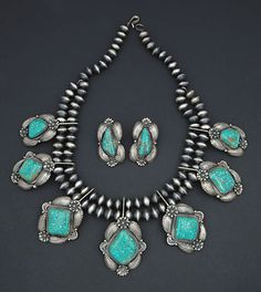 Necklace & Earrings | Kirk Smith (Navajo). Sterling silver and Indian Mountain turquoise