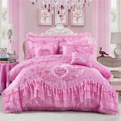 Buy Luxury Jacquard Lace Ruffle Bedding Set Romantic Princess Pink Korean Style Duvet Cover Sets Wedding Bedclothes Cotton Bed Skirt Bedding Queen King Size (Two Cushion Covers As Gifts) at Wish - Shopping Made Fun Pink Bedding Set, Ruffle Bedding, Queen Bedding Sets, Luxury Bedding Sets, Cotton Bedding, Fluffy Bedding, Satin Bedding, Comforter Cover, Duvet Cover Sets