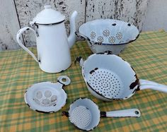 Collection of French vintage white enamelware including coffee pot colander and strainers instant French cottage decor kitchenalia by Daisyrootsfrance on Etsy https://www.etsy.com/listing/206003724/collection-of-french-vintage-white