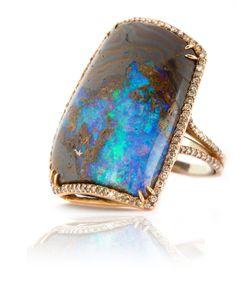 Kimberly McDonald: 18k Gold Opal and Brown Diamond Ring