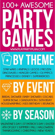 Hundreds of awesome party games for every occasion! Minute to win it games, party games for kids, party games for adults, and more!