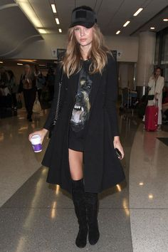 Josephine Skriver | The recipe for getting a supermodel-worthy airport look is simple—and, no, it doesn't require a bodysuit.