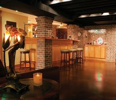 Basement - Love the black painted ceiling.