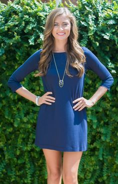 We've decided that everyone should own this awesome dress! Hourglass Lilly 606MOLNVY is a sweet shift style dress with 3/4 fitted sleeves and a higher neckline! This classic look is great worn alone or with tights! On the shorter side, this dress is fantastic paired with scarves and necklaces! A great look for game day or everyday!