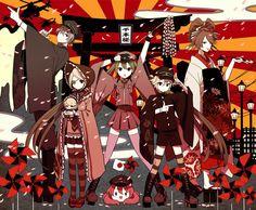 Vocaloid - Kaito, Kagamine Rin, Hatsune Miku, Tako Luka, Kagamine Len, Meiko - Senbon Sakura artwork.