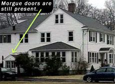 Morgue doors are still visible on the side of the Southington, Connecticut house.