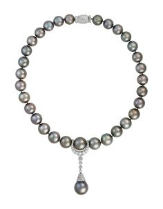 Belle 9-10 mm Gray riz Akoya Freshwater cultured pearl necklace