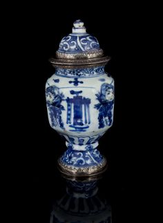 A rare blue and white covered jar with silver Mounts , Ming dynasty
