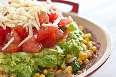 Healthy Five Layer Dip- SO much better than seven layer dip! :)