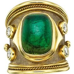 Elizabeth Gage Green Tourmaline and Diamond Ring
