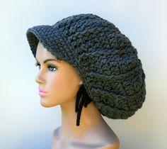 Gray Charcoal Newsboy Cap, dark grey Visor Dread Tam Hat, Hippie Slouchy Beanie cap hat, man, woman