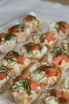 www.patepate.co.uk  These canapés look posh but they're easy really. All you need is Tasty Salmon #Patépaté, smoked salmon, filo pastry and a herb of your choosing. Enjoy!