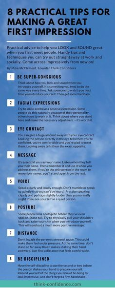 Look the part straight away, even when you don't feel comfortable or confident in the environment. #infographic Practical tips for making a great first impression at work or socially. #selfconfidence #firstimpressions #tips #steps