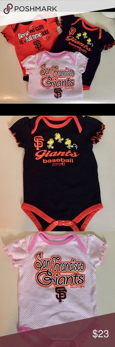 3 piece set San Francisco Giants Onesies 3 piece set San Francisco Giants Onesies   Girls 3-6 months size   Gently worn only a few times - Excellent Condition MLB One Pieces Bodysuits