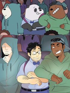 We Bare Bears- The bears as humans Ice bear Panda bear and Grizzly bear Anime Vs Cartoon, Cartoon Shows, Cartoon Art, We Bare Bears Human, Cartoon Characters As Humans, Character Art, Character Design, We Bear, Image Manga