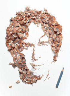 portraits avec des copeaux de crayon kyle bean 1   Portraits avec des copeaux de crayon   portrait photo Kyle Bean image crayon copeau