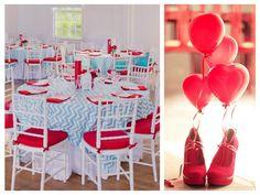 Painel de inspiração azul e vermelho + Casamento | Andrea Velame Blog